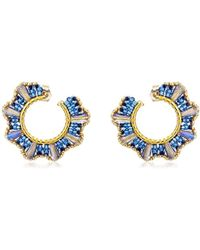 Miguel Ases - Small Blue Cone Twisted Hoop Earrings - Lyst
