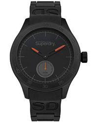 Superdry - 'scuba' Quartz Silver-tone And Silicone Casual Watch, Color:black (model: Syg212bb) - Lyst