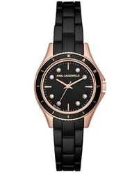Karl Lagerfeld - 'janelle' Quartz Stainless Steel Casual Watch, Color:black (model: Kl1640) - Lyst