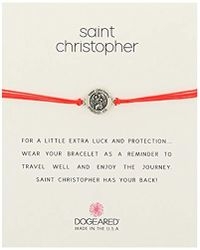 Dogeared - St. Christopher On Red Cord Bracelet Necklace - Lyst