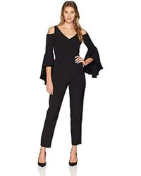170c111286e2 Maggy London - Cold Shoulder Solid Crepe Jumpsuit - Lyst