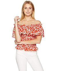 1b28185c2368dd Lyst - Rebecca Taylor Off-the-shoulder Floral Organza Top