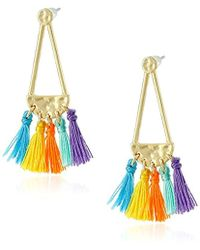 Rebecca Minkoff - Geo Tassel Chandeliers Stud Earrings - Lyst