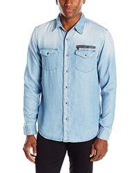 Guess - Moto Zip Denim Shirt - Lyst