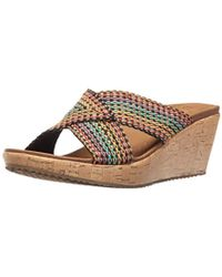 251f10a810 Skechers Cali Beverlee Delighted Wedge Sandal in Natural - Lyst