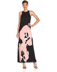 Halston - Sleeveless Round Neck Printed Dress With Curved Circle - Lyst