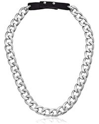 """Steve Madden - Rhodium And Black Curb Chain Leather Strap Necklace, 21"""" - Lyst"""