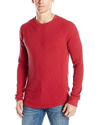 Lucky Brand - Lived-in Thermal Crewneck Shirt In Red - Lyst