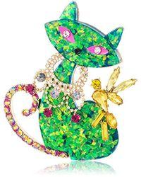 Betsey Johnson - S Green Cat Pin - Lyst