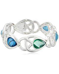 Napier - Silver-tone Blue And Green Multi-stretch Bracelet - Lyst