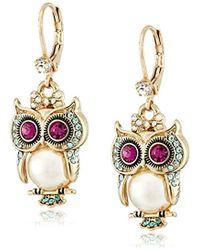"""Betsey Johnson - """"pearl Critters"""" Owl Drop Earrings - Lyst"""