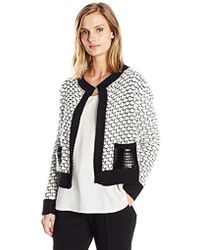 Jones New York - L/slv Extend Crew Pkt Cardigan - Lyst