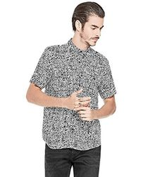 Guess - Short Sleeve Painted Check Shirt - Lyst