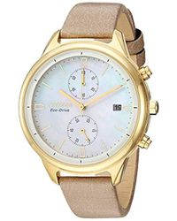 Citizen - 'chandler' Quartz Stainless Steel Watch, Color:beige (model: Fb2002-08d) - Lyst