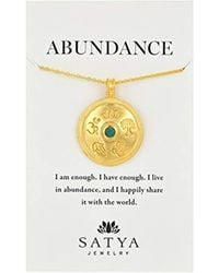 "Satya Jewelry - Gold Emerald Mandala Pendant Necklace, 30"" - Lyst"