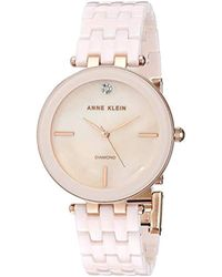 Anne Klein - Ak/3310lprg Diamond-accented Rose Gold-tone And Light Pink Ceramic Bracelet Watch - Lyst