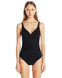 d0bae5f0692 Surplice Bust V-neck One Piece Swimsuit