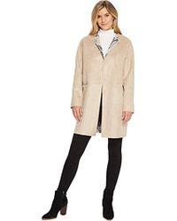 41cb04e4cc6 Ellen Tracy - Inverted Reverse Printed Fur Coat - Lyst