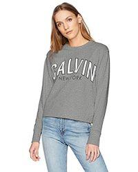 Calvin Klein - Flocked Logo Sweatshirt - Lyst