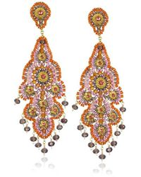 Miguel Ases - Synthetic Amethyst Quartz Chandelier Earrings - Lyst