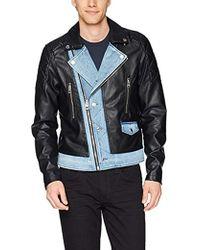 Guess - Long Sleeve Ace Pu Denim Mix Moto Jacket - Lyst