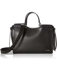 b3a5a6cfad2289 Calvin Klein - Callie Crosshatch Leather Knotted Satchel - Lyst
