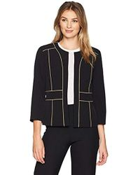Kasper - Jewel Neck Fly Away Stretch Crepe Jkt With Framing - Lyst