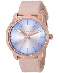DIESEL - Watches S Flare Degrade Rose Gold-tone And Nude Leather Watch - Lyst