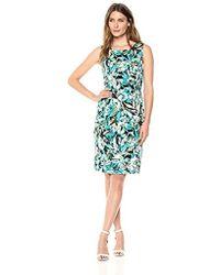 Kasper - Jewel Neck Blossom Print Dress With Banded Waist - Lyst