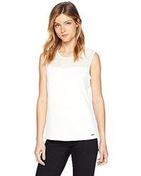 Calvin Klein - Sleeveless Matte Jersey Top With Illusion Neckline - Lyst