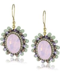 Miguel Ases - Prehnite Quartz Small Button Drop Earrings - Lyst