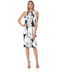 953a6bc08a60d Ivanka Trump Floral-print Popover Fit & Flare Dress in White - Lyst