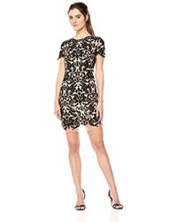 Dress the Population - Megan Short Sleeve Sequin Lace Mini Sheath Dress - Lyst