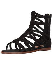 2beb9e3fc2a1 Lyst - Born Nea Nubuck Gladiator Sandal in Black