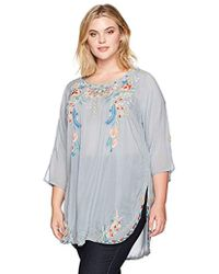 36241c8e2f8fa Lyst - Johnny Was Sindri Georgette Long Embroidered Tunic Top in Blue