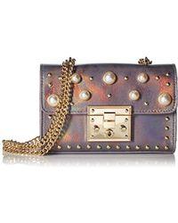 Steve Madden - Prince Push Lock Mini Flapover Crossbody With Pearls, Ladies Pu Satchel - Lyst
