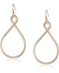T Tahari - Hoops Looped Hoop Earrings On Fishwire, Rose Gold, One Size - Lyst