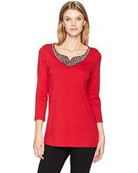Rafaella - Missy Jewel Embellished 3/4-sleeve Top - Lyst