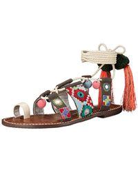 c0fc9248938 Lyst - Sam Edelman Gretchen Embroidered Leather Sandals in Black