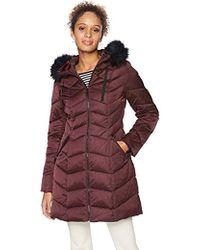 T Tahari Chevron Quilted Puffer Coat