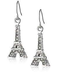 Betsey Johnson - S Crystal Rhodium Eiffel Tower Drop Earrings - Lyst