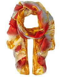 La Fiorentina - Abstract Floral Print Scarf With Swirls - Lyst