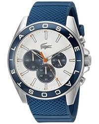Lacoste - Men's Chronograph Westport Blue Silicone Strap Watch 45mm 2010854 - Lyst