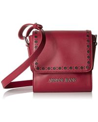 f085ddbacd7 Armani Jeans - Eco Leather Square Crossbody With Perforated Details - Lyst