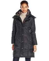 London Fog - Chevron Down Coat With Faux-fur Trim - Lyst