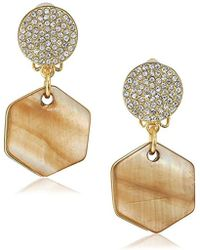 T Tahari - Pave Top With Hexagon Mother-of-pearl Disc Drop Clip Earrings - Lyst