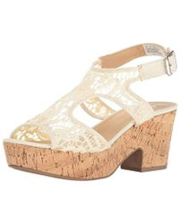 b9b1e78290f Lyst - Lucky Brand Wedge Platform Sandals Rilo Crochet in White