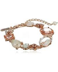 Badgley Mischka - S Blush & Crystal Flower Line Bracelet, Rose Gold Tone, One Size - Lyst