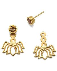 Satya Jewelry - S Citrine Gold Lotus Earring Jacket, Yellow, One Size - Lyst