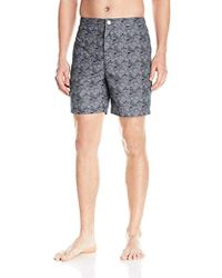 Calvin Klein - Waves Pattern Fixed Waist Swim Trunk - Lyst